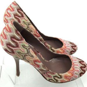 Missoni Zig Zag Pumps Multicolor Knit Shoes 40